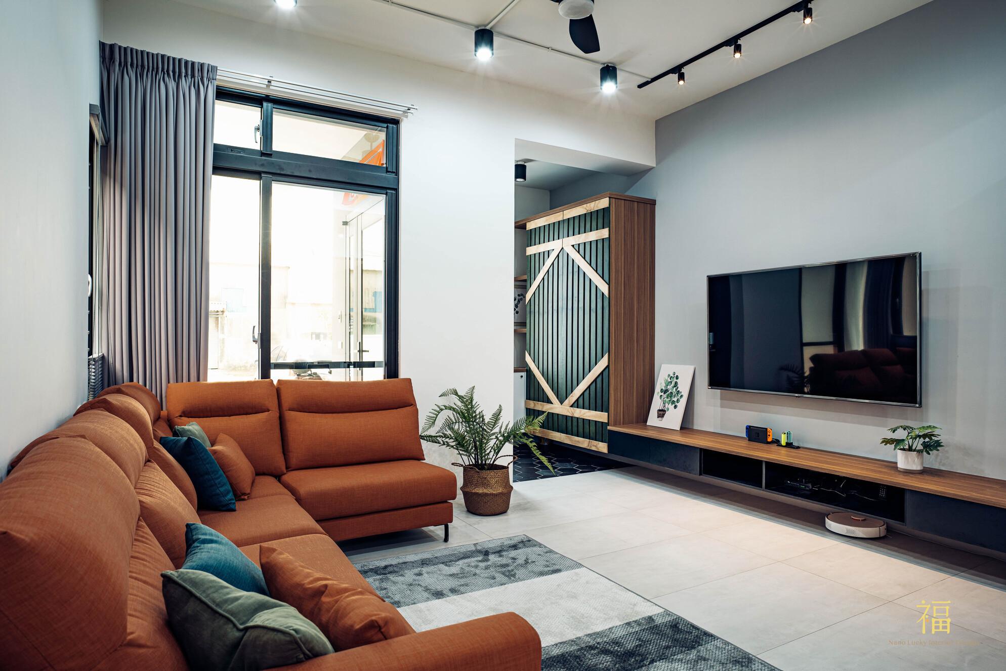 溪口盧宅|北歐風客廳全景|嘉義住宅空間設計