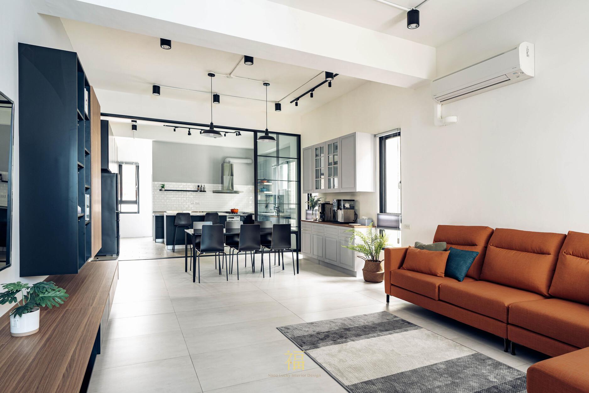 溪口盧宅|客廳餐廳廚房全景|嘉義住宅空間設計