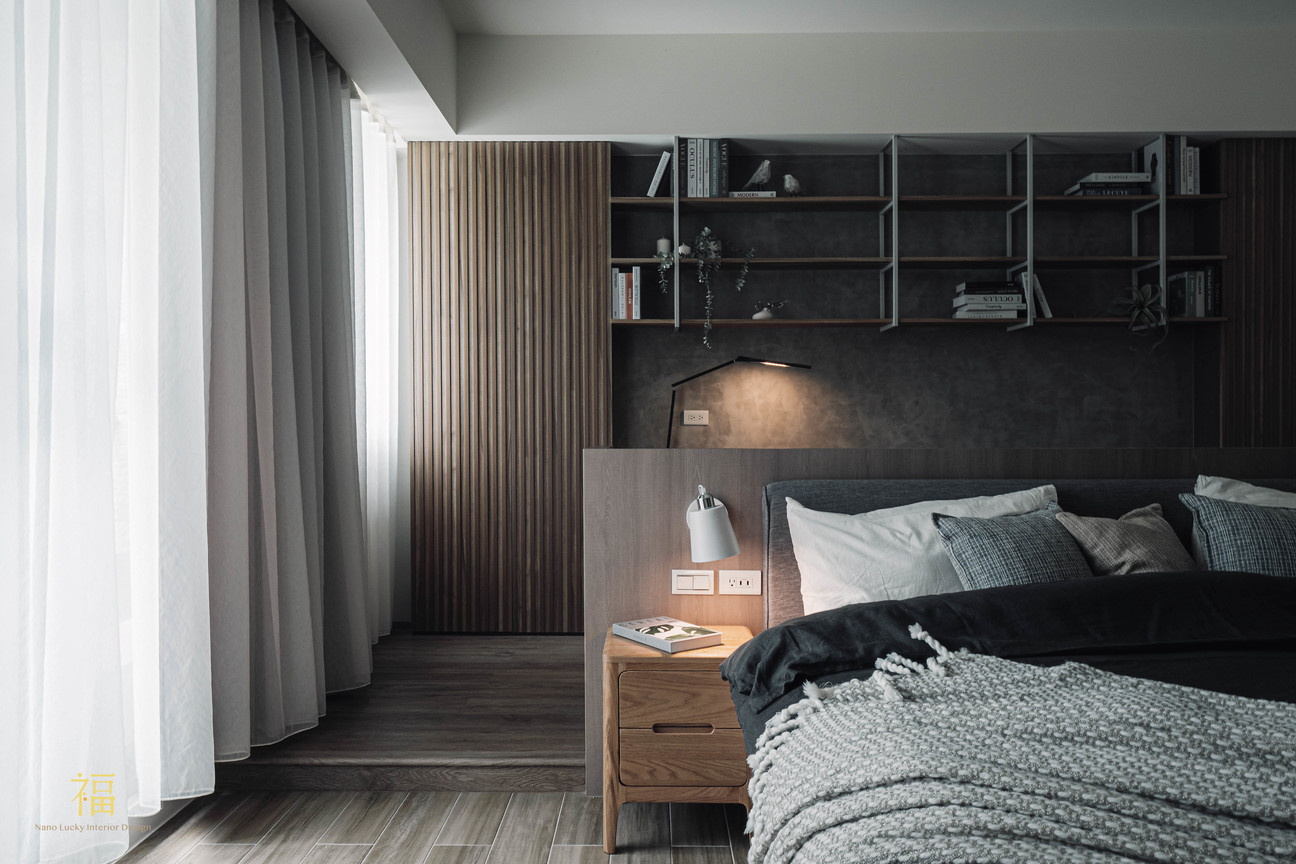 福人居 主臥室窗簾與床頭櫃 嘉義住宅空間設計