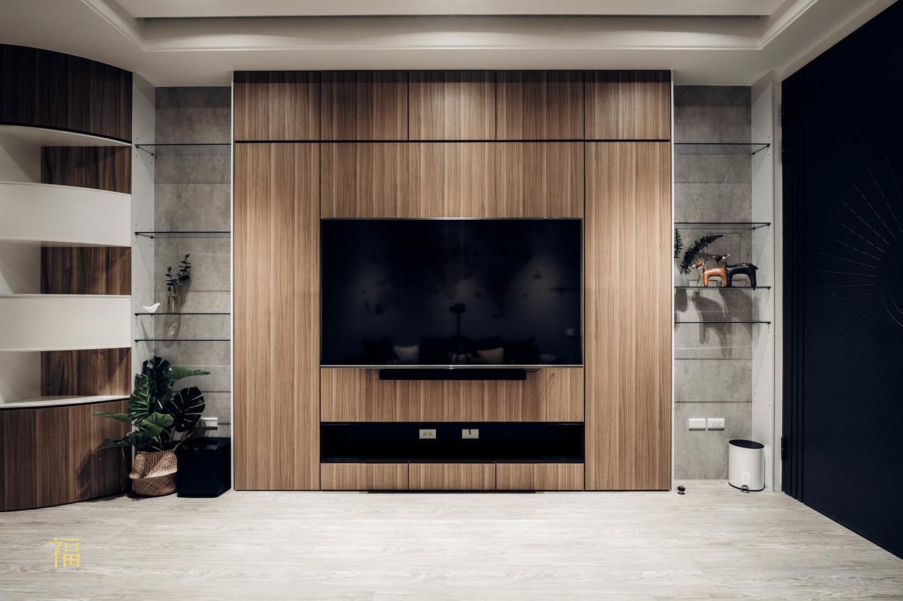 福人居 客廳電視牆質感木紋 嘉義住宅空間設計