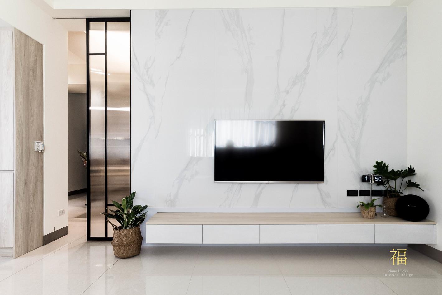 Nanolucky小福砌空間設計-敦煌五期A2-透天住宅設計-簡約北歐風-整面大理石電視牆